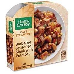 Healthy Choice Cafe Steamers Frozen Dinner, Barbecue Seasoned Steak with Potatoes, 9.5 Ounce