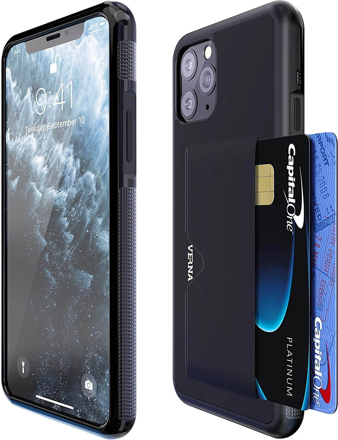 Verna iPhone 11 Pro Max Case   Slim PU Leather Case   Card Holder Slot   Wireless Charging   Compatible with iPhone 11 Pro Max - Black