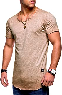 BEHYPE Men/'s Basic T-Shirt Polo Casual Tops with asymmetric cut MT-1003
