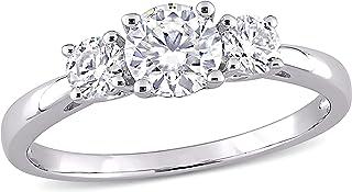 Sponsored Ad - Abbie+Cleo Round Shape Created White Moissanite Gemstone 3-Stone Statement Engagement Ring in Rhodium Flash...