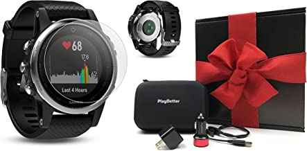 Garmin Fenix 5S (Silver with Black Band) Gift Box Bundle   Includes HD Screen Protector, PlayBetter USB Car/Wall Adapter & Hard Case   Multi-Sport GPS Fitness Watch, Wrist-HR   Black Gift Box