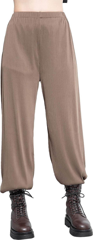 ellazhu Women high Elastic Waist Casual Wide Leg Pants with Pockets GY2581