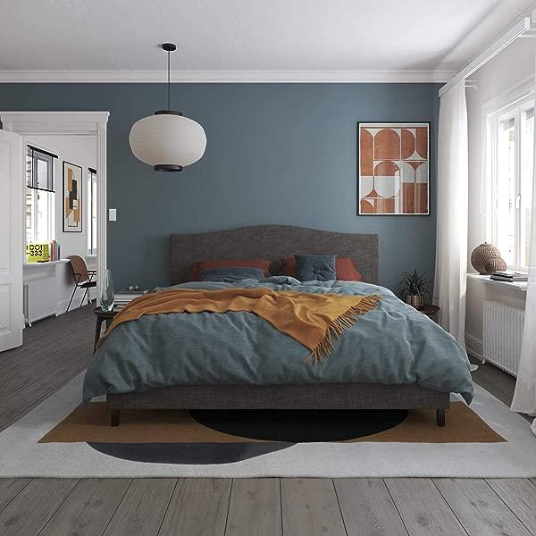 REALROOMS Mason Upholstered Bed King Bed Frame Grey Linen