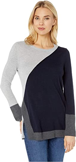 Long Sleeve Color Block Side Split Crew Neck Sweater