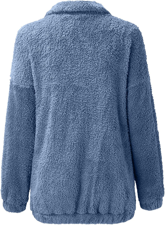 Jacket for women Long Sleeve Lapel Zip Up Casual Faux Shearling Warm Oversized Coat