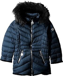 DKNY Girls' Bubble Jacket with Faux Fur Trim