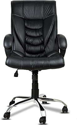 DZYN Furnitures Black Leatherette Office Chair (DZL1404)