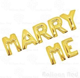 40 Inch Giant Jumbo Helium Foil Mylar Balloons Bouquet (Premium Quality), Glossy Gold, Letters MARRY ME