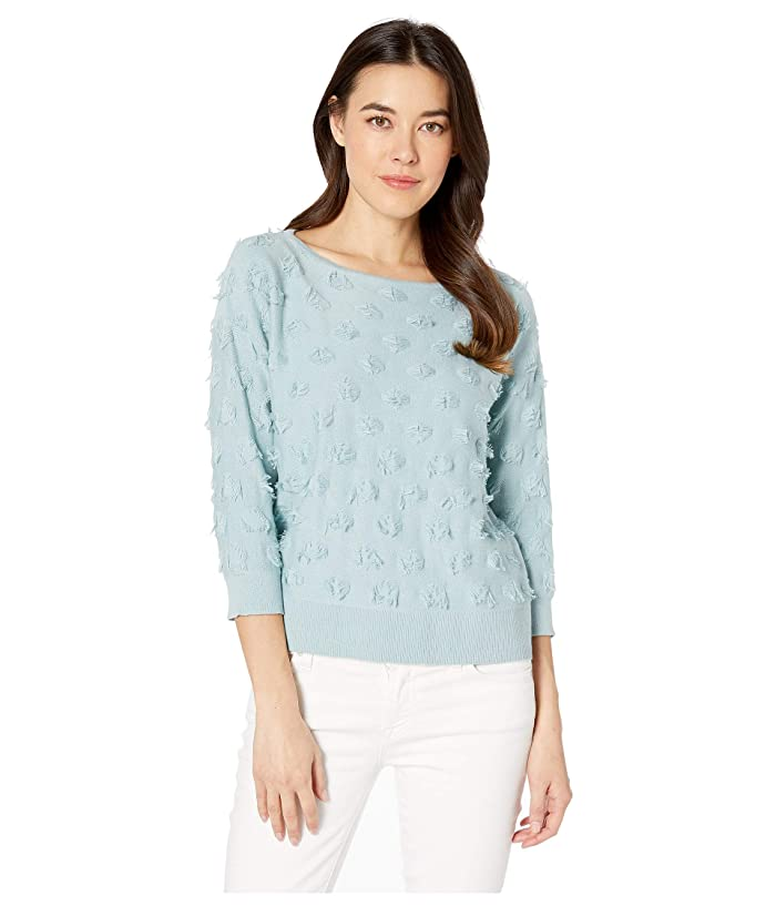 TWO by Vince Camuto Long Sleeve Eyelash Crew Neck Sweater (Blue Cypress) Women