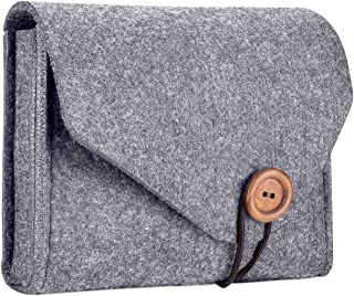 ProCase Felt Storage Case Bag, Portable Travel Electronics Accessories Organizer Pouch for MacBook Laptop Mouse Power Adapter Cables Power Bank Cellphone Accessories Charger SSD HHD –Grey