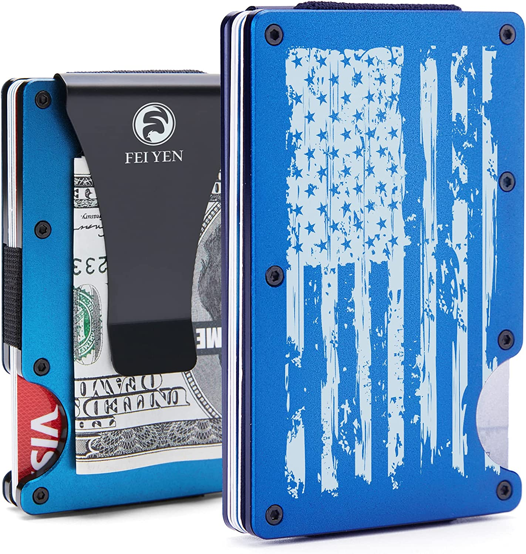 Minimalist Wallet for Men - American Flag - Front Pocket Credit Card Holder - Aluminum Slim Money Clip- RFID Blocking Engraved Metal Wallet - Front Pocket Credit Card Holder - Tactical Wallet for Travel Business