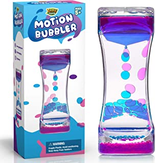 YoYa Toys Liquid Motion Bubbler for Kids and Adults | Hourglass Liquid Bubbler or Timer for Sensory Play, Fidget Toy and Stress Management - Cool Desk Décor