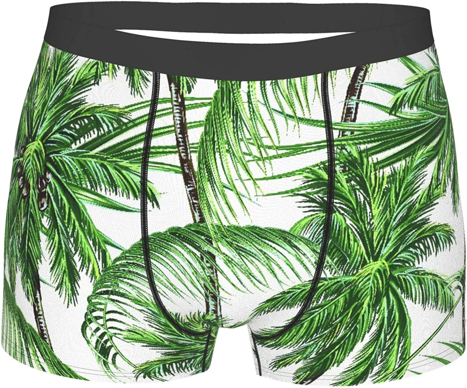 Men's Underwear, Premium Palm Trees Tropical Leaves Thermal Insulated,Boxer Briefs Breathable Comfort Underpants Size S