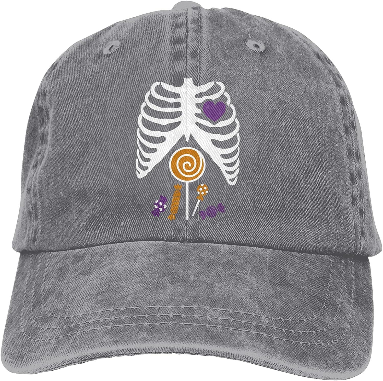 YLW49Y Skeleton Candy Rib-cage X-Ray Halloween Funny Sports Denim Cap Adjustable Snapback Unisex Plain Baseball Cowboy Hat