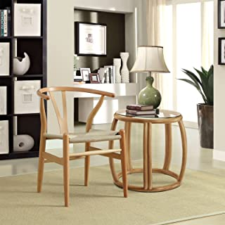 Modway Amish Mid-Century Wood Kitchen and Dining Room Chair in Natural