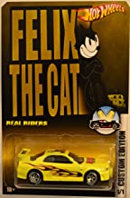 Hot Wheels Compatible Nissan Skyline GT-R R34 Yellow Custom-Made Real Rider Rubber Wheels Felix The Cat Series 1:64 Scale Collectible Die Cast Model Car