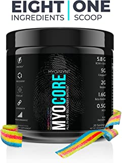 MYOCORE | All-in-One Intra + Post Workout Recovery Supplement | EAA + BCAA, Creatine, Beta-Alanine, Betaine, HICA, L-Carnitine L-Tartrate, Agmatine Sulfate, Electrolytes | Rainbow Candy | 20 Servings