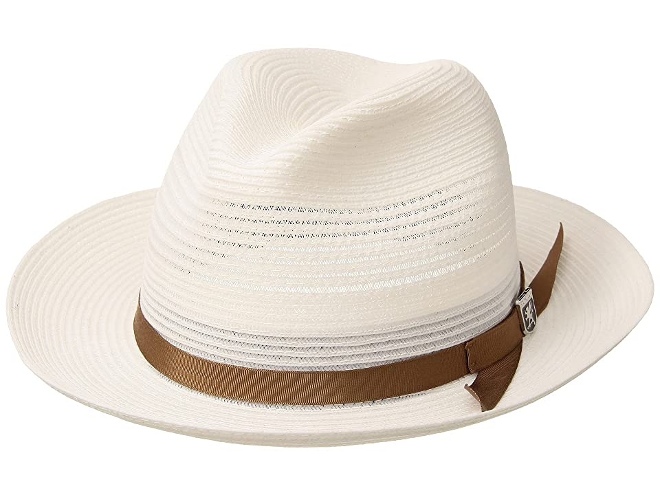 Stacy Adams Vented Poly Braid Fedora (White) Caps