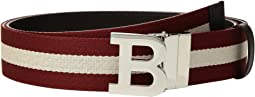 B Buckle Bally Stripe Canvas and Leather Belt