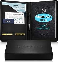 NERO MANETTI- Leather Portfolio Folder - Business PU Leather Portfolio Notepad Holder for Resumes, Legal Pad Portfolio Exe...
