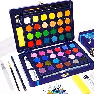 Watercolor Paint Set - 48 Solid AssortedWatercolors Paints Half Pans with Watercolor Brush Pen + 8 Extra Bonuses, Travel ...