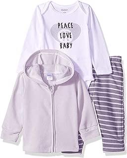 Hanes Ultimate Baby Unisex-Baby BZF1Z3 Zippin Fleece Zip Pant with Bodysuit and Fleece Hoodie Layette Set - Multi