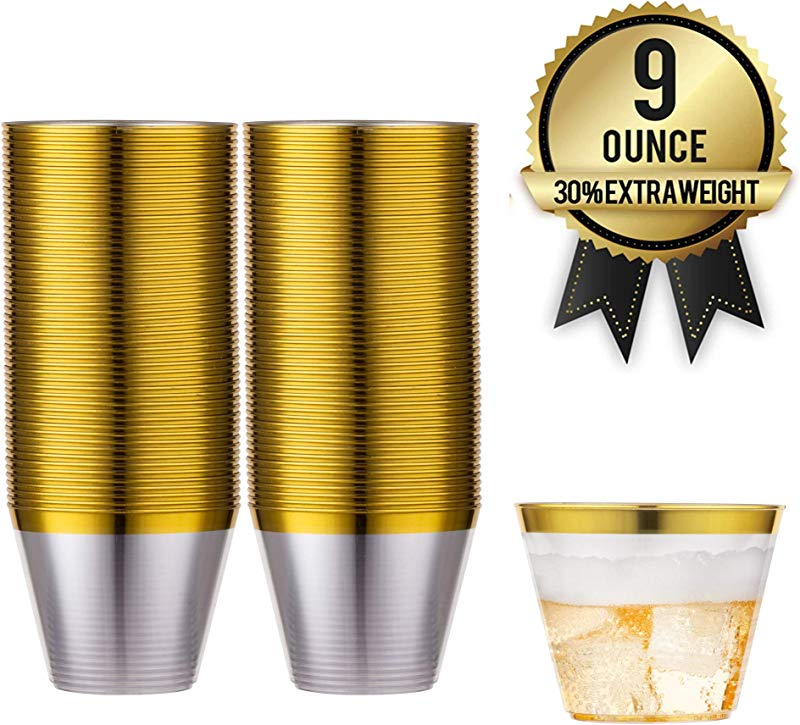 100 Gold Rimmed Reusable Plastic Cups Thick Durable 9 Oz Disposable Champagne Glasses Plastic Gold Decor Cocktail Rim Cups For Bachelorette Parties Birthdays Weddings More By Amedy S