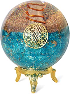 Orgonite Crystal Blue Aquamarine Crystal Ball with Stand for Positive Energy, EMF Protection and Chakra Balancing –with Fl...