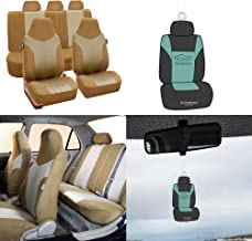 FH Group FB101115 Supreme Twill Fabric High-Back Full Set Car Seat Covers, Airbag and Split Ready, Beige/Tan Color w, Free Air freshener - Universal Car, Truck, SUV, or Van