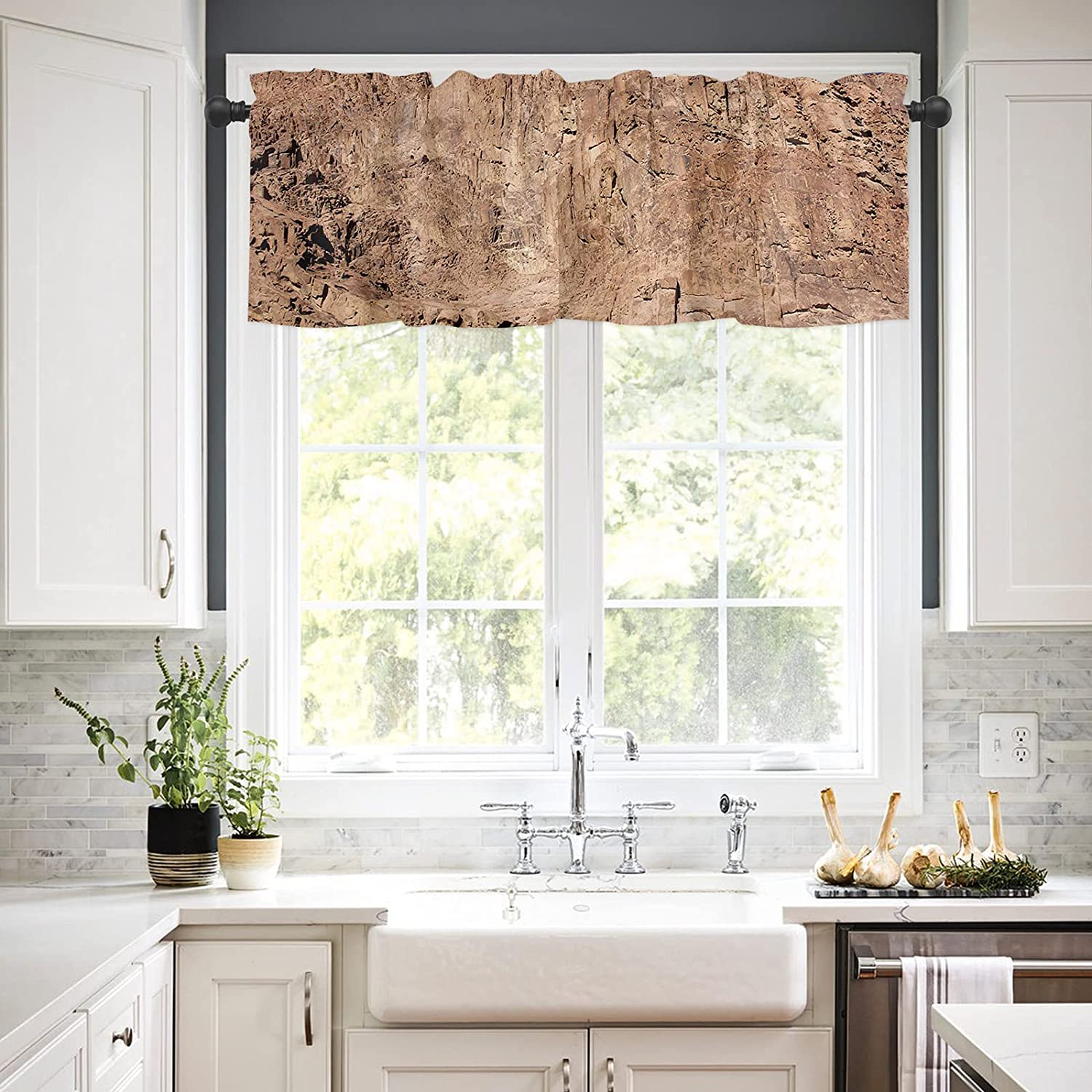 Rod Pocket Selling Ranking TOP11 rankings Window Valances Curtains Rugged Cliff wit Kitchen for