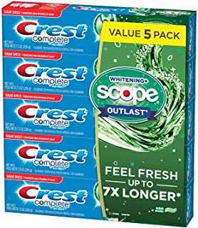 Crest Complete Whitening + Scope Mint Outlast Toothpaste (7.3 ounce, Pack of 5)