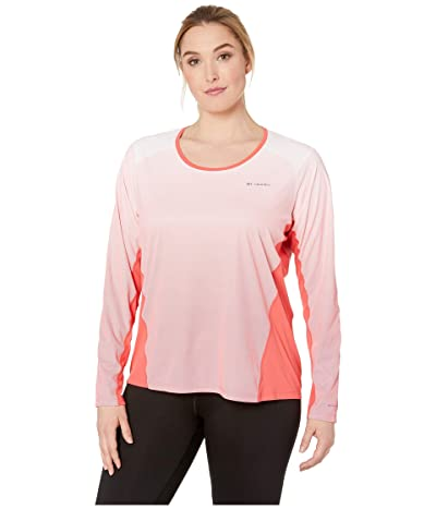 Columbia Plus Size Solar Chilltm 2.0 Long Sleeve Shirt (Red Coral) Women