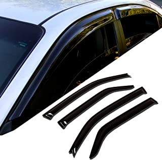 4 Pcs Set Compatible With 2007-2016 GMC Acadia TuningPros WV2M-202 Outside Mount 2.0mm Window Visor Deflector Rain Guard Dark Smoke