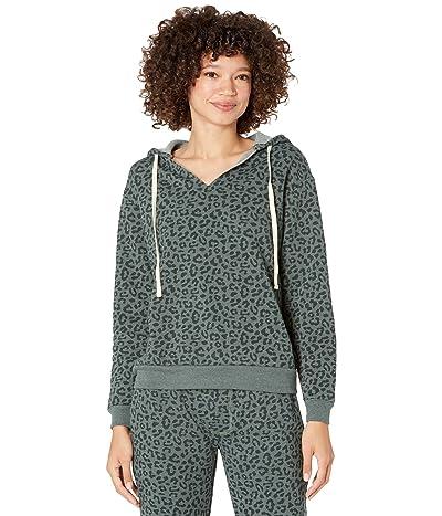 Alternative Eco Fleece Slashed Neck Pullover Hoodie (Spruce Tonal Simple Leopard) Women