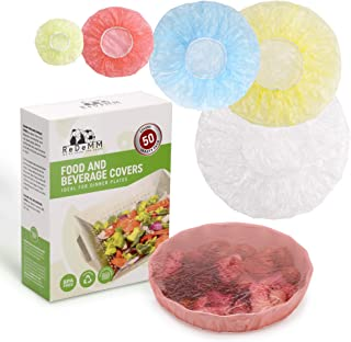 50 Reusable Elastic Food Bowl Storage Covers - Variety of 5 translucent stretchable sizes and colors - Alternative to foil - plastic wrap- clingwrap - BPA Free - Microwave safe for leftovers