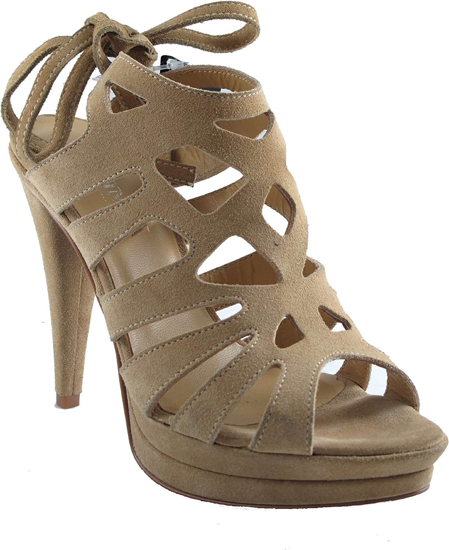 DaVinci Women's High Heel with Platform, Italian Sandals Size 38 M EU Tan