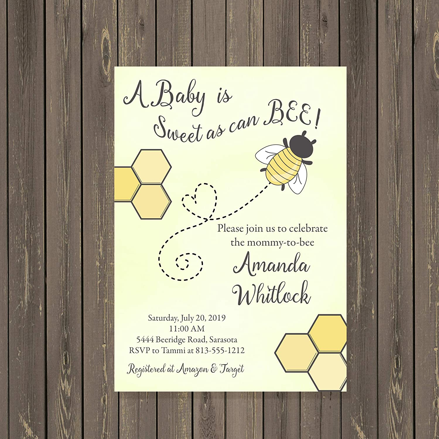 Bumblebee Bee Baby Shower Invitations Yellow Pink or Blue, Base price is for a Set of 10 printed 5x7