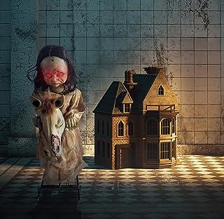 Haunted Hill Farm HHRCKHRS-1FLSA Life-Size Animatronic Rocking Doll, Indoor/Outdoor Halloween Decoration, Multi