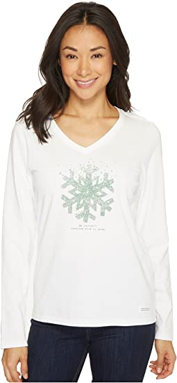 Life is Good - Snowflake Tiny Hearts Long Sleeve Crusher Vee