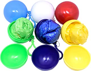 TOOTO Pack of 6 Random Color Convenient Disposable Emergency Raincoats Portable Hook Poncho Ball For Outdoor Activities ,Poncho and Ball are Same Colors!
