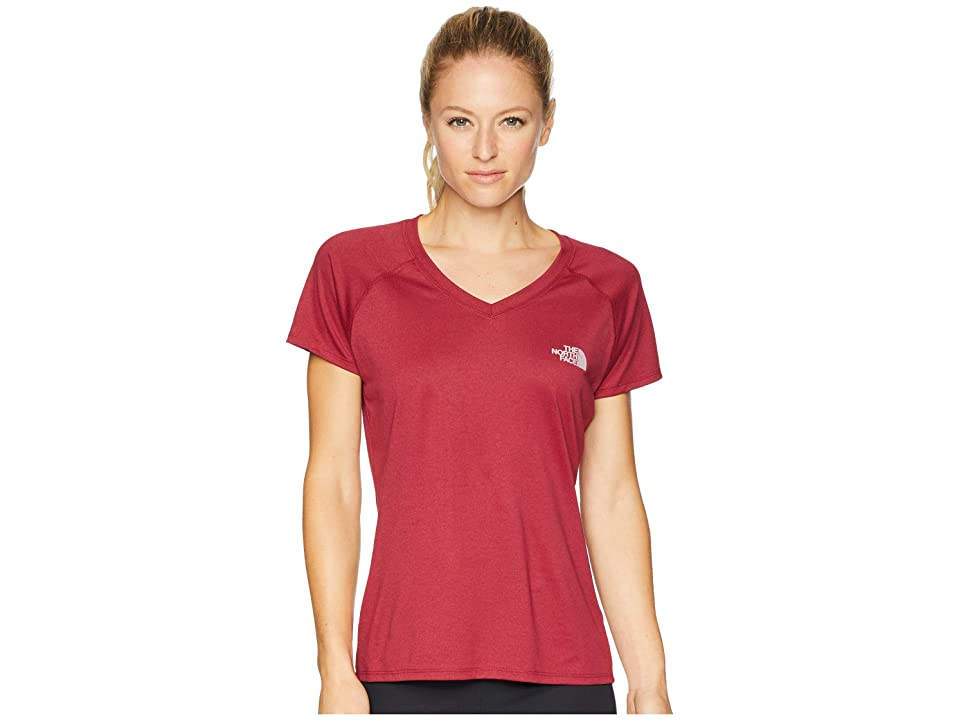 The North Face Short Sleeve Reaxion V-Neck Tee (Rumba Red Heather/Burnished Lilac) Women