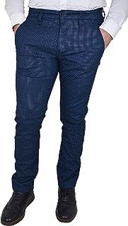 1da05514ac92ac Guy Pantaloni da Uomo in Cotone Elasticizzati Estivi Slim Fit Modello Chino  a Fantasia Pois Blu