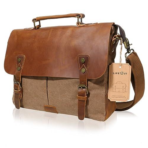 Lifewit 14-15.6 Inch Leather Satchel Messenger Laptop Shoulder Bag Canvas  Briefcase (14  12af38949a0dd