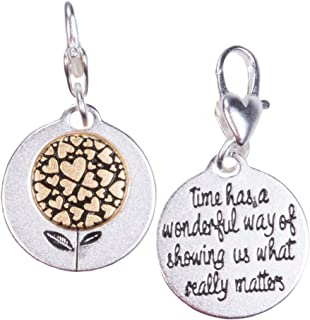 Amanda Blu Hearts Flower Charm Trust | Time has a Wonderful Way of Showing us What Really Matters | Silver 2-Tone Medallion | Women