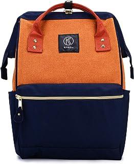 Kah&Kee Polyester Travel Backpack Functional Anti-theft School Laptop for Women Men (Linen Orange, Large)
