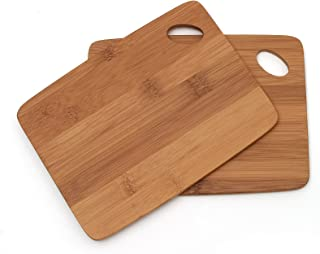 Lipper International 849 Bamboo Wood Thin Kitchen Cutting Boards with Oval Hole in Corner, Set of 2 Boards, 6