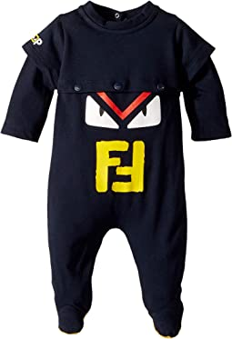 Fendi Kids - Long Sleeve Monster Eyes Logo Footie (Infant)