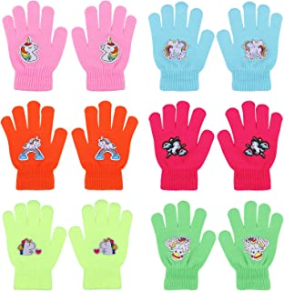 QKURT 6 Pares de Guantes de Invierno para Niñas Patrón de Unicornio Guantes de Niña Guantes de Dedos completos para niños ...