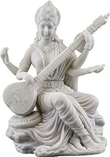 Top Collection Saraswati Statue - Hindu Goddess of Knowledge, Music & Art Sculpture in White Marble Finish- 5.75-Inch Figurine