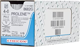 Ethicon PROLENE Polypropylene Suture, 8682G, Synthetic Non-absorbable, PS-2 (19 mm), 3/8 Circle Needle, Size 4-0, 18'' (45 cm)